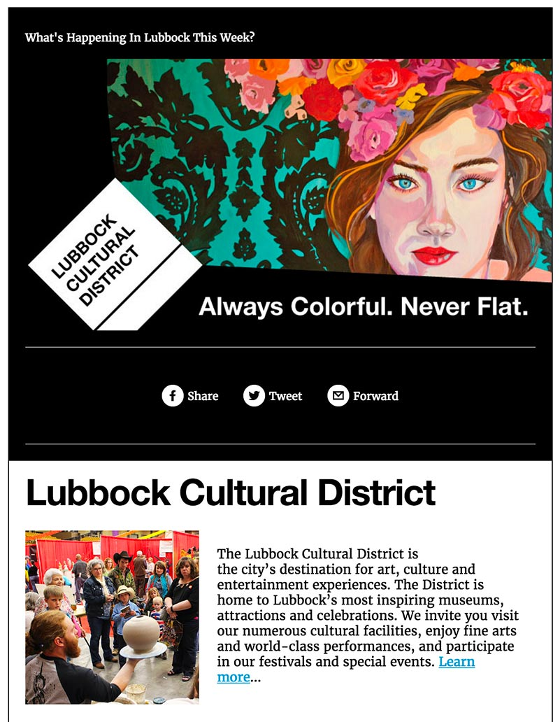 Lubbock Cultural District newsletter template